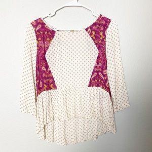 Free People peasant peplum cream blouse xs